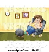Vector of Cartoon Fat Guy Drinking Beer and Watching TV by Graphics RF