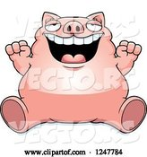 Vector of Cartoon Fat Pig Sitting and Cheering by Cory Thoman