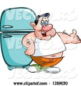 Vector of Cartoon Fat White Guy Presenting and Leaning Against a Refrigerator by Yayayoyo