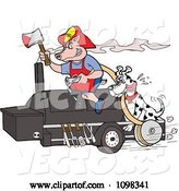Vector of Cartoon Fireman Dalmation and Pig on a Smoker Bbq by LaffToon