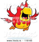 Vector of Cartoon Flying Fire Bird Phoenix by Cory Thoman