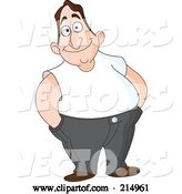 Vector of Cartoon Friendly Chubby Guy in a White Shirt, His Hands in His Pocket by Yayayoyo