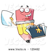 Vector of Cartoon Friendly Pencil Holding a Blank Piece of Paper and a Notebook by Hit Toon