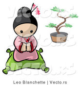 Vector of Cartoon Geisha Girl Kneeled on a Pillow with Bonsai Tree in Background by Leo Blanchette