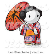 Vector of Cartoon Geisha Girl Using Umbrella by Leo Blanchette