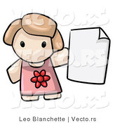 Vector of Cartoon Girl Holding Blank Paper by Leo Blanchette