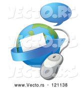 Vector of Cartoon Globe with Email an Arrow Computer Mouse and Chat Balloon by Graphics RF