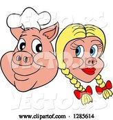 Vector of Cartoon Grinning Chef Pig Face and Blond Haired Girlfriend by LaffToon