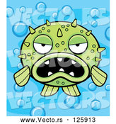 Vector of Cartoon Grumpy Green Blowfish on a Bubbly Blue Background by Cory Thoman