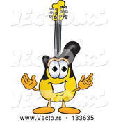 Vector of Cartoon Guitar Mascot Character with Welcoming Open Arms by Toons4Biz
