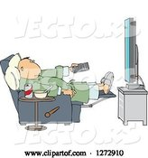 Vector of Cartoon Guy in Chair with Food at His Side and Pointing a Remote at a Flat Screen TV by Djart