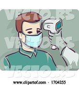 Vector of Cartoon Guy Thermal Scan Check Temperature Illustration by BNP Design Studio