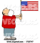 Vector of Cartoon Guy Wearing a Face Mask and Holding an American Flag by Djart