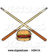 Vector of Cartoon Hamburger and Crossed Billiards Pool Cue Stick by LaffToon