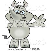 Vector of Cartoon Happy Rhino Standing and Waving by Dennis Holmes Designs