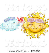 Vector of Cartoon Happy Sun Holding a Pinmill by a Cloud by BNP Design Studio