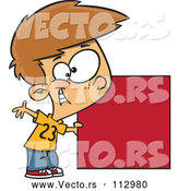 Vector of Cartoon Happy White Boy Holding a Red Square or Blank Sign by Toonaday