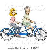 Vector of Cartoon Happy White Couple Riding a Blue Tandem Bicycle by Djart