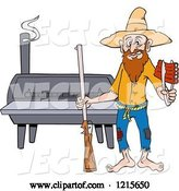 Vector of Cartoon Hillbilly Guy with a Rifle, Holding Ribs by a Bbq Smoker by LaffToon