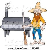 Vector of Cartoon Hillbilly Guy with a Rifle, Standing by a Bbq Smoker by LaffToon