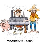 Vector of Cartoon Hillbilly Guy with a Rifle, Standing by a Bbq Smoker with a Cow Chicken and Pig by LaffToon