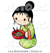 Vector of Cartoon Japanese Girl with Bowl of Saimin Noodles by Leo Blanchette