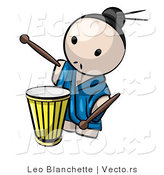 Vector of Cartoon Japanese Guy Playing Drum by Leo Blanchette