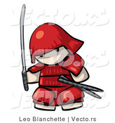 Vector of Cartoon Japanese Warrior Armed with Sword While Wearing Red Armor Outfit by Leo Blanchette