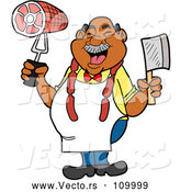 Vector of Cartoon Jolly Chubby Black Male Butcher Holding a Cleaver Knife and Ham, Wearing Sausage Around His Neck by LaffToon