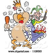 Vector of Cartoon King Chicken Carrying a Drumstick and Being Set on Fire by a Joker by LaffToon