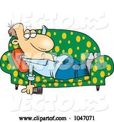 Vector of Cartoon Lazy Guy Watching Tv on a Sofa by Toonaday