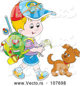 Vector of Cartoon Little Blond White Boy Ready to Go Explore, Walking with a Puppy Dog by Alex Bannykh