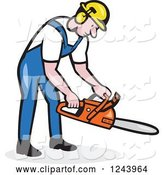 Vector of Cartoon Lumberjack Holding a Chainsaw by Patrimonio