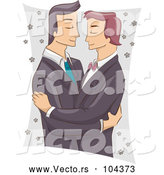 Vector of Cartoon Male Same Sex Couple Embracing at Their Wedding by BNP Design Studio