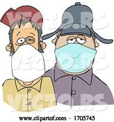 Vector of Cartoon Men Wearing Face Masks by Djart