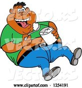 Vector of Cartoon Obese Black Guy Laughing and Eating Food from a Bucket by LaffToon