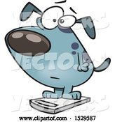 Vector of Cartoon Obese Dog on a Scale by Toonaday