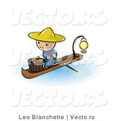Vector of Cartoon Oriental Guy in a Floating Market Boat with Oranges by Leo Blanchette