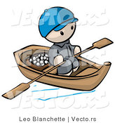 Vector of Cartoon Oriental Guy Transporting Food by Wood Boat with Paddles by Leo Blanchette