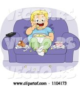 Vector of Cartoon Overweight Boy Eating Jump Food and Watching Tv in a Chair by BNP Design Studio