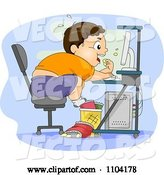 Vector of Cartoon Overweight Brunette Boy Eating Junk Food at His Computer by BNP Design Studio