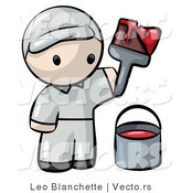 Vector of Cartoon Painter Holding Paintbrush with Bucket and Red Paint by Leo Blanchette