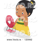 Vector of Cartoon Pretty Black Girl Wearing Makeup and Looking in a Mirror by BNP Design Studio
