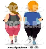 Vector of Cartoon Rear View of a Chubby White Couple Working out Together by BNP Design Studio