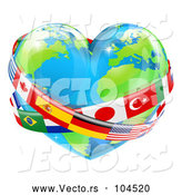 Vector of Cartoon Reflective Heart Earth Globe with National Flag Sashes by AtStockIllustration