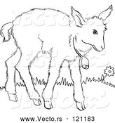 Vector of Cartoon Retro Vintage Black and White Baby Goat with a Bell Line Drawing by Picsburg