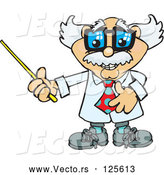 Vector of Cartoon Senior Professor Holding a Pointer Stick to the Left by Dennis Holmes Designs