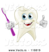 Vector of Cartoon Smiling Happy Tooth Mascot Holding a Thumb up and Toothbrush by AtStockIllustration