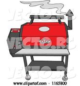 Vector of Cartoon Smoking Grey and Red Pellet Grill by LaffToon