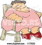 Vector of Cartoon Super Fat White Lady Sitting in a Chair by Djart